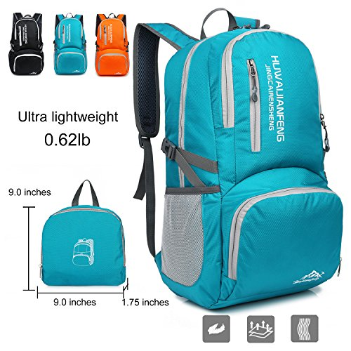 Foldable Backpack Lightweight Water Resistant Daypack for Travel Hiking – Knapsack for Women Men 25L 6.2lb