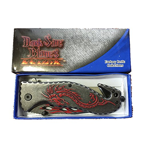Red Fantasy Dragon (Dark Side Stone Washed Ballistic Blade Folding Knife, Red Dragon. Fantasy Knife Collection in 5 Colors. New in Box. Top)