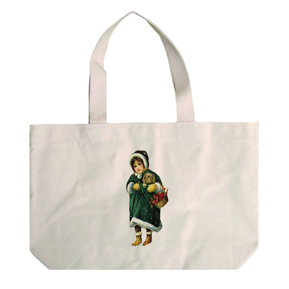 Canvas Beach Tote Girl Green Coat Holding Puppy Christmas By Style In Print