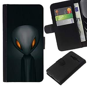 EJOY---La carpeta del tirón la caja de cuero de alta calidad de la PU Caso protector / Samsung Galaxy Core Prime / --Extranjero Gris Espacial Hombre Negro