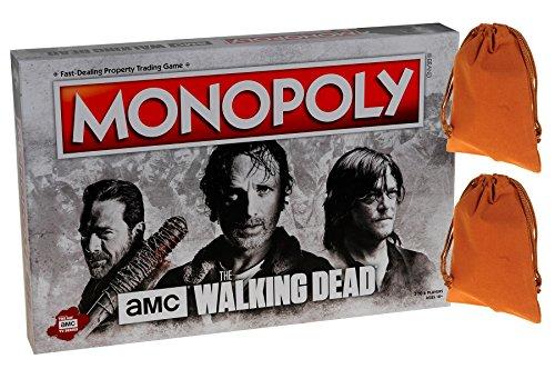 Monopoly AMC Walking Dead Board Game _ Bonus 2 Brown Velveteen Drawstring Pouches _ Bundled (Amc The Walking Dead Game)