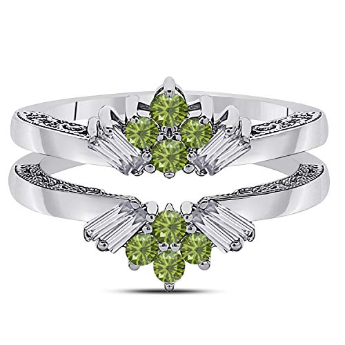 (Jewelryhub 14k White Gold Plated Sterling Silver Dazzling Sunburst Prong Set Round & Baguette Enhancer Ring Guard with CZ Green Peridot (0.38 ct. tw.))