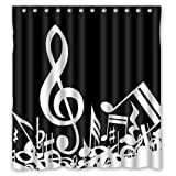 "Custom Waterproof Fabric Bathroom Shower Curtain Music Notes 66""(w) x 72""(h)"
