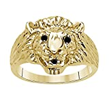 DS Jewels Affordable For Men's CZ Lab Created Black Sapphire Accent 14k Yellow Gold Plated Alloy Lion's Head Ring Size 4 to 11