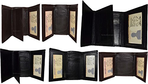 2 Card Leather Space ID of Window New 9 Trifold 2 6 Billfold Lot Wallet BN Man's UOHqfwx