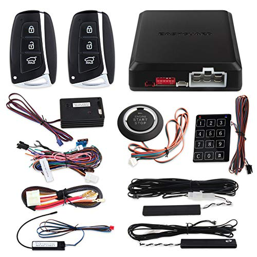 EASYGUARD EC002-HY-NS Smart Key PKE car Alarm System with keyless Entry Remote Engine Start Stop Engine Start Stop Button Touch Password keypad Shock Alarm Warning (Best Windows Start Button)