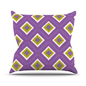 "Kess InHouse Nicole Ketchum ""Purple Spash Tile"" Outdoor Throw Pillow, 16 by 16-Inch"