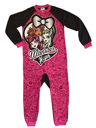 Monster High Girls One Piece Fleece Sleeper Pajama (S (6/6X))