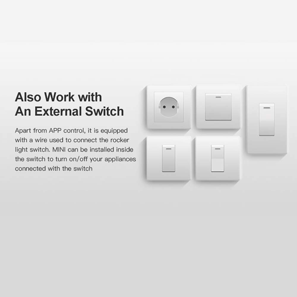 Google Home Konesky Smart WiFi Switch Sonoff Bricolaje Mini Interruptor Inteligente Control Remoto Bidireccional Funciona con Alexa Nest IFTTT