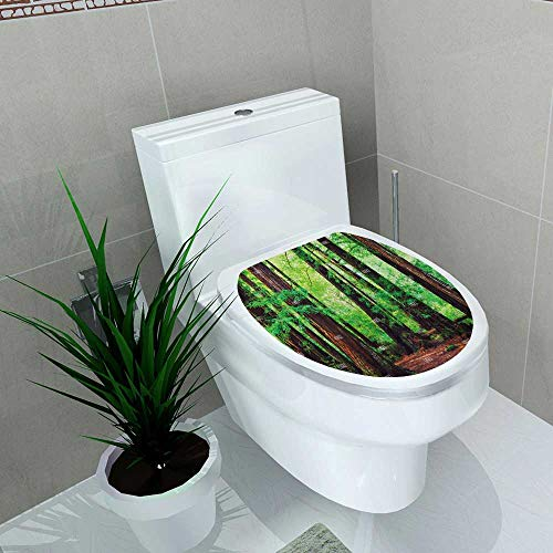 (Auraise-home Decal Wall Art Decor Stock Photo Redwood Trees in Forest Northwest rain Forest for Toilet Decoration W11 x L13)