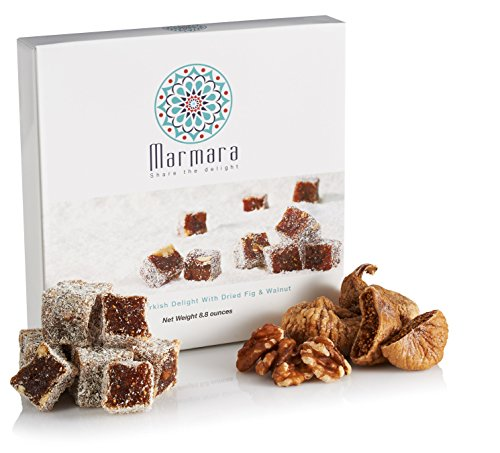Turkish Delight with Fig and Walnut by Marmara Authentic Sweet Confectionery Gourmet Gift Box Candy Dessert Large,8.8 ounces. -