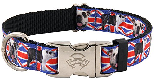 English Bulldog Costumes (Country Brook Design Premium English Bulldog Union Jack Ribbon Dog Collar - Extra Large)