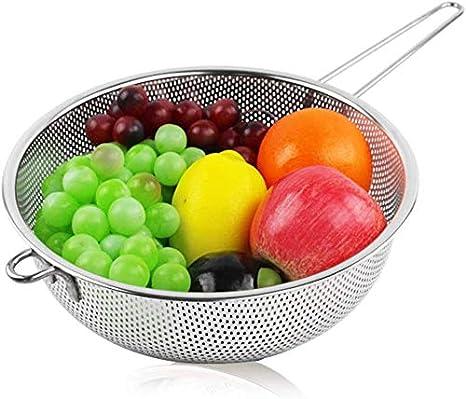 Como Imagen Show Acero Inoxidable Escurridor 1# Micro-Perforated Cocina Colador con Mango Largo para Arroz Pasta Espagueti Fideos Verduras