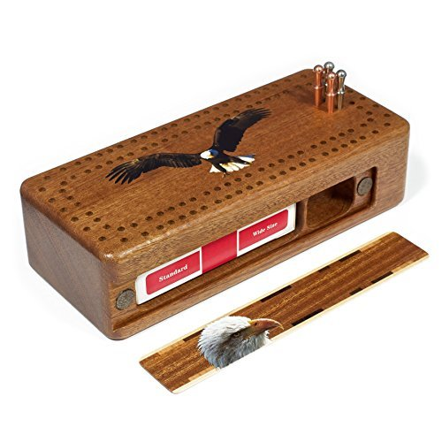 Bald Eagle Wooden Cribbage Board with quality metal pegs and deck of cards by Mitercraft