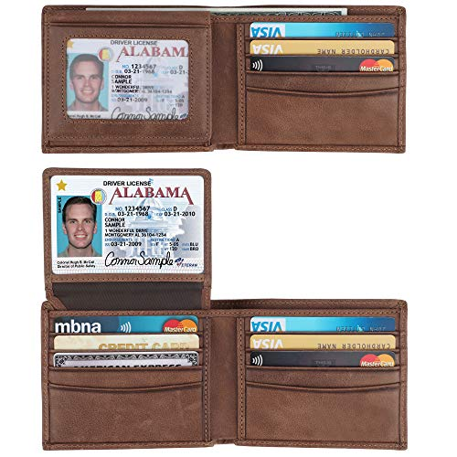 RFID Blocking Cowhide Leather Bifold Wallet for Men with 2 ID Windows(Brown- Sheepskin Leather) ()
