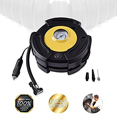ShenMate Portable Air Compressor Pump, 12V 150PSI Emergency Tire Pump for Car, Truck, Bikes & Balls with 3 Air Nozzles, Tire Inflator with Gauge