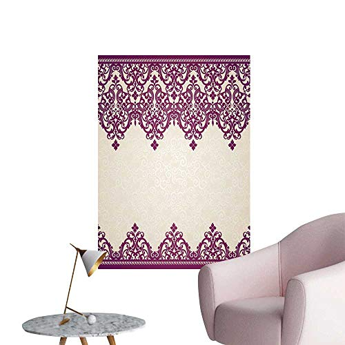 Turkish Pattern Self Adhesive Wallpaper for Home Bedroom Decor Old Fashioned Borders with Spiral and Tangled Leaves in Rococo Style Removable Kitchen Fuchsia Beige W32 x H48]()