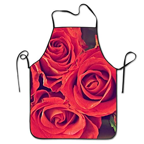 Flowers Red Flowers Rose Deluxe Aprons Personalized Printing Kitchen ()