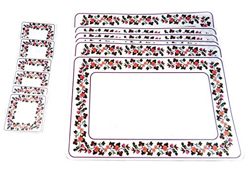 DINY Home & Style Set of 6 PVC Placemat and Coaster Set Heat-Resistant Stain Resistant Indoor Outdoor Floral Border