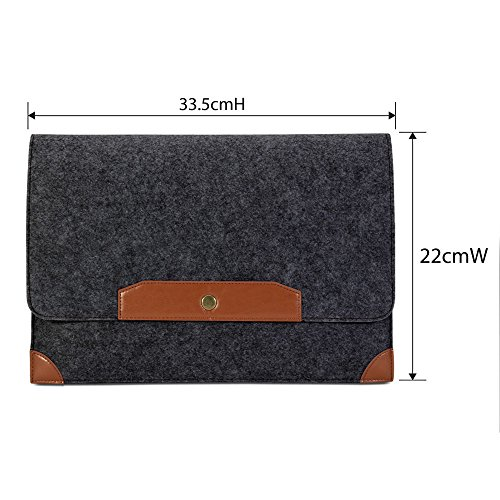 Surface Pro 3 Sleeve, GMYLE Wool Felt Sleeve for Microsoft Surface Pro 3 - Dark Grey & Brown Soft Sleeve Bag Case Cover