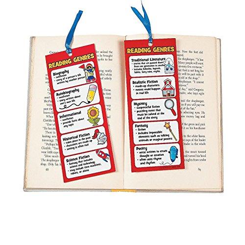 Bargain World Laminated Jumbo Reading Genre Bookmarks (With Sticky Notes)