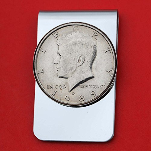 US 1989 Kennedy Half Dollar BU Uncirculated Coin Stainless Steel Money Clip NEW - Silver Plated Coin Bezel by jt6740