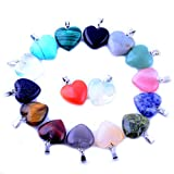 Heart Stone Pendant Small Love Heading Chakra Crystal 0.63inch 30pcs Gems Gemstones Charms for Necklace Earring Jewelry Making