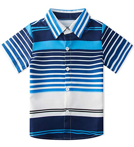 Enlifety Little Boys Cool Slim fit Polo Shirts Blue Stripe Kids Short Sleeve Dress Shirt Button Down Party Wear Clothing Size 3-4