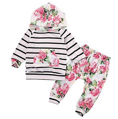 Baby Girls Floral Hoodie+ Floral Pant Set Leggings 2 Piece Outfits for 6M-3Y (6-12Months, Floral)