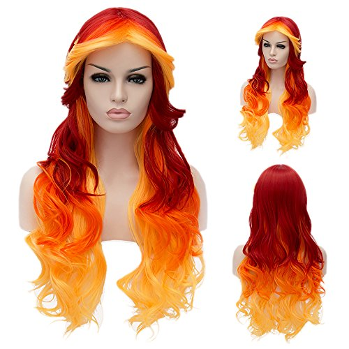 Colorwigy Cosplay Long Airy Curly Hair Ombre Hair Cosplay Wig Costume Party Wigs (Yellow to Orange to (Easy To Prepare Halloween Costume)