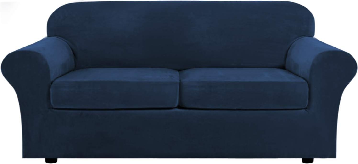 Real Velvet Plush 3 Piece Stretch Sofa Cover Velvet-Sofa Slipcover Sofa Cover Furniture Protector Couch Soft Sofa Slipcover for 2 Cushion Couch with Elastic Bottom(Sofa, Navy)