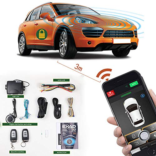 Remote Start Car Kit Phone 2-Way Keyless Entry Car Alarm System & Securit PKE Central Lock Locking System With Two Remote Car Starter (Automatic Car Starter For Push Button Start)