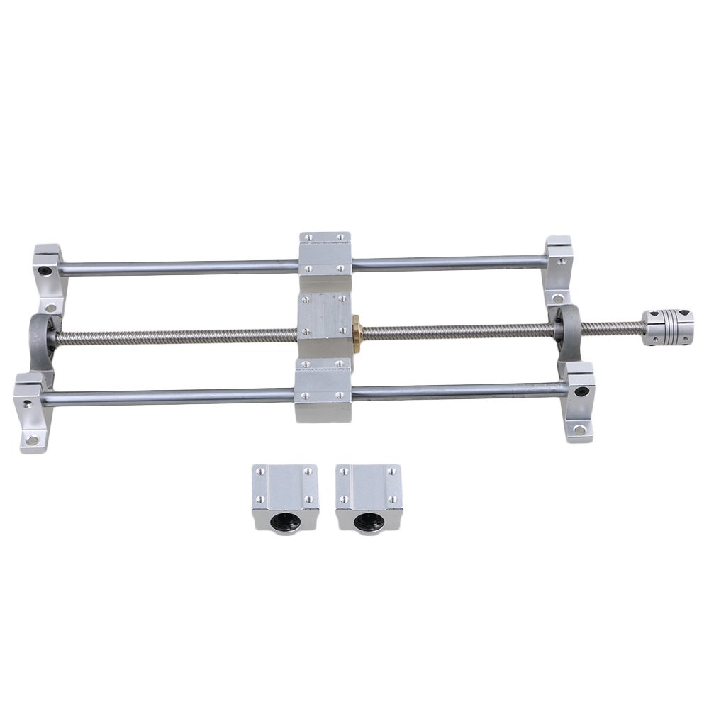 Yibuy Horizontal Dual Rail Guide Support T8 350mm 8mm Lead Screw Coupling Set etfshop M7170724112