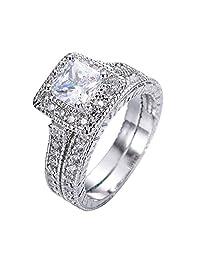 JunXin jewelry 66MM White Gold Cushion Cut Diamond Engagement Halo Ring Wedding Band Bridal Set Size6/7/8/9/10