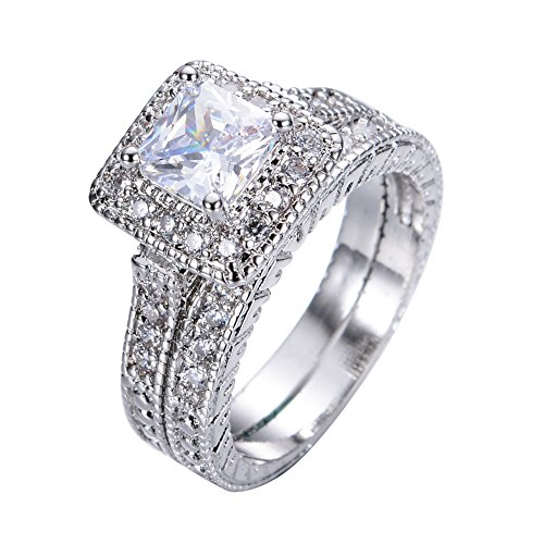 Rongxing Jewelry engagement rings white gold Women's Sets Cubic Zirconia Silver Crystal Couple Size 10