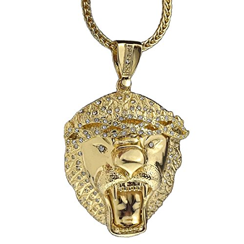 ing Size Chunky Charm Pendant Gold Finish 36 Inch Long Franco Hip Hop Chain ()
