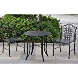Outdoor Abbottsmoor Patio 3 Piece Bistro Set Made with Wrought Iron (Table) 28'' H x 30'' W x 30'' L in. and (Chair) 36'' H x 23'' W x 17.5'' D in.