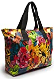 Large Nylon Tote Bag For Shopping, Beach, Sports, Gym - With Double Top Zipper And Long Handles - Heavy Nylon Canvas With Lining (16 x 23, Flower)