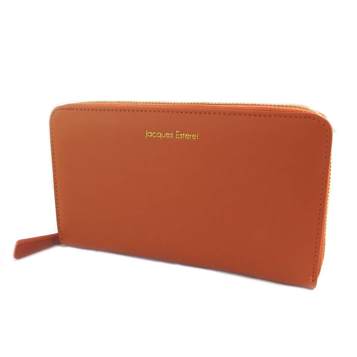 Jacques ESTEREL [Q2157]  Wallet + checkbook holder zipped 'Jacques Esterel' orange  21x10x2.5 cm (8.27''x3.94''x0.98'').