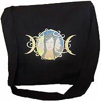 Black Linen Cloth Messenger Bag Purse with Embroidered Pagan Triple Goddess