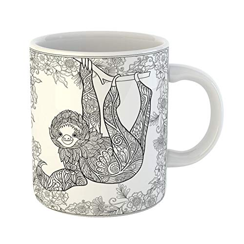 Emvency Funny Coffee Mug Coloring Page Lovely Sloth