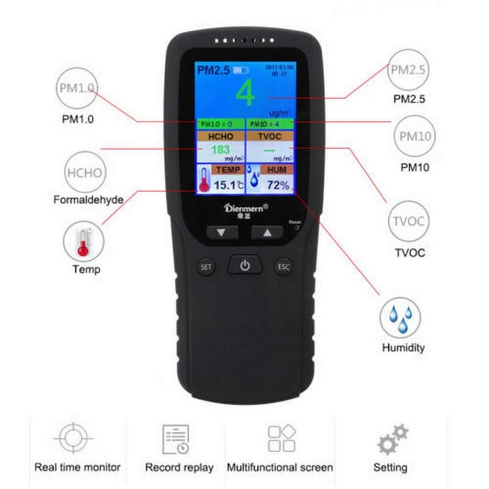 Portable Air Quality Detector Multifunctional LCD Display PM2.5 PM1.0 PM10 HCHO TVOC T&H Sensor Tester Hand-held Testing Tool