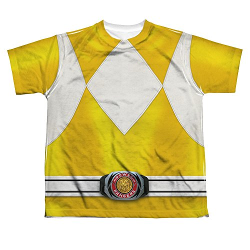 [Mighty Morphin Power Rangers Yellow Ranger Costume - All Over Youth Front T-Shirt] (Yellow Power Ranger Costumes Child)