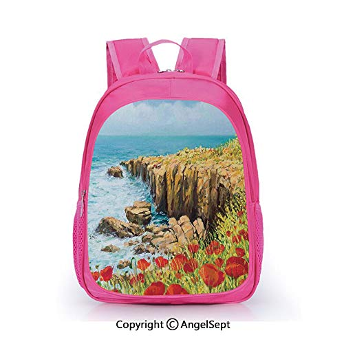 (Casual Backpack Waterproof For Kindergarten Students,Coastal Seascape and Poppies on the Cliffs High Above the Bay Image Print Red Peach Dark Green,15.7inch,Backpack For Kids Water Resistance)