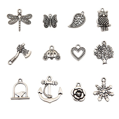 Bingcute 100Pcs Wholesale Bulk Lots Tibetan Silver Plated Mixed Pendants Charms (Charms)
