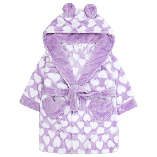 b91c87bb0c Amazon.com: MiniKidz Childrens Kids Girls Fleece Dressing Gown - Flannel Fleece  Heart Print Hooded Robe: Clothing