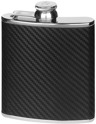 Orton West Mens 6oz Captive Top Carbon Fibre Effect Hip Flask - Black/Silver
