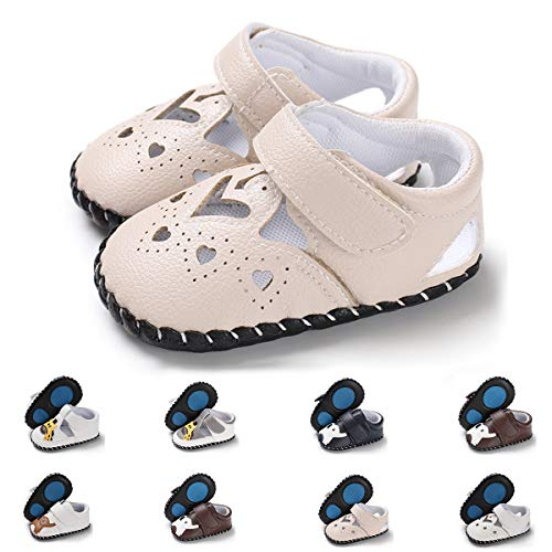 E-FAK Baby Boys Girls Shoes Cartoon Crawling Slippers Soft Moccasins Toddler Infant Crib Pre-Walkers Sneakers First Walkers Shoes (6-12 Months M US Infant,A-Beige swan)