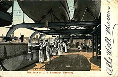 Gun Deck of U.S. Battleship Kentucky Battleships Original Vintage Postcard