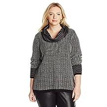 Calvin Klein Women's Plus-Size Cowl-Neck Sweater with Grid Stripes